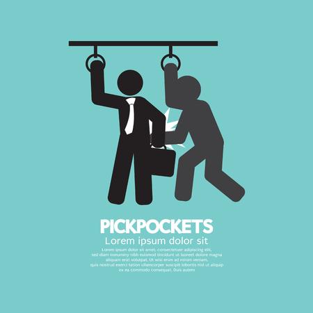 Pickpocketer Steal Things From Bag Of Businessman In Public Transport Black Symbol Vector Illustration Illustration