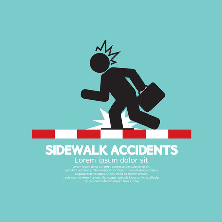 Businessman Get Accidents On Sidewalk Black Symbol Vector Illustration