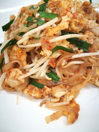 close shot: Pad Thai Stir Thai Noodle Popular Local Food Of Thailand Close Up Shot