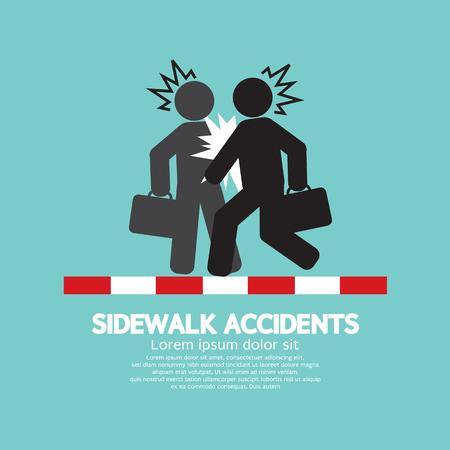Businessmen Get Accidents On Sidewalk Black Symbol Vector Illustration
