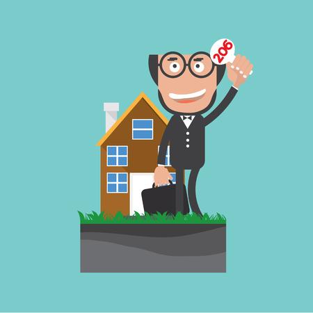 bidding: Businessman Show Bidding Offer Of The Property Vector Illustration.