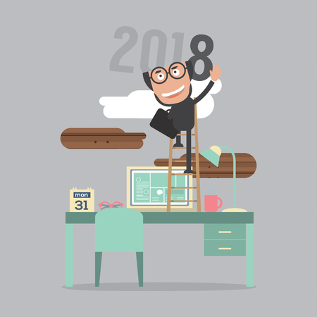 2018 Year Of Sucess Vector Illustration