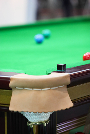 pool cues: Chalk On The Edge Of The Snooker Table