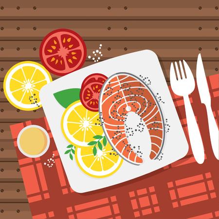 Top View Salmon Steak On Table Vector Illustration Illustration