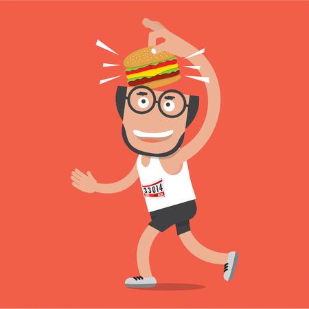 Corredor con hamburguesa Vectores