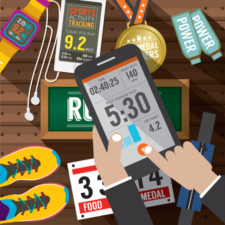 Sport Activity Application In Smartphone With Sport Gears Items In Background Vector Illustration Illustration
