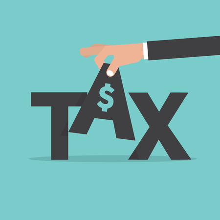 levied: Hand Pick up TAX. Fee Levied Upon Incomes Vector Illustration