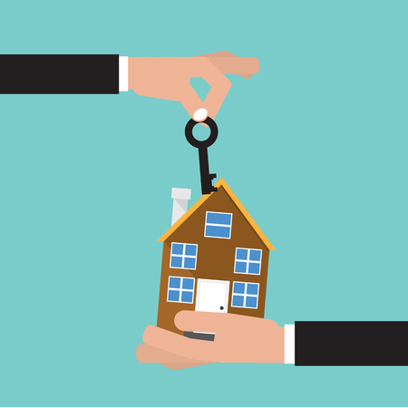 Hand Give Key And Home. House Buying. Real Estate Concept Vector.