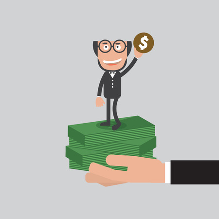 Businessman Raise Hand Up With A Coin Refer To Be A Millionaire Concept Vector Illustration