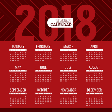 numbers abstract: 2018 Modern Red Graphic Printable Calendar Starts Sunday Vector Illustration