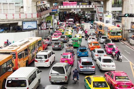 BANGKOK, THAILAND - Jul 18, 2017: Traffic Jam At Siam Square, Bangkok Thailand.