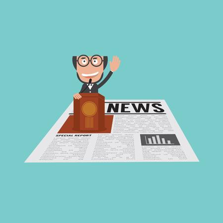 Gelukkige en Succesvolle Zakenman die op Podium in Financiële Nieuws Vectorillustratie spreekt