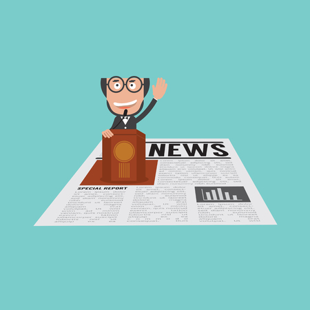 Happy And Successful Businessman Speaking On Podium In Financial News Vector Illustration Ilustrace