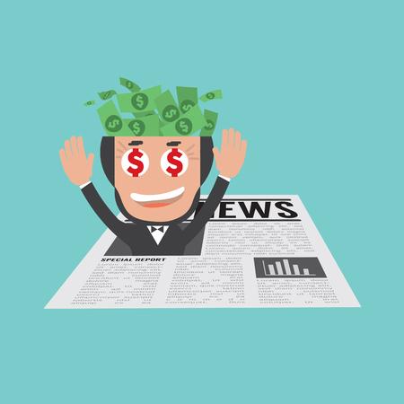 金融ニュースのベクトル図に幸せと成功した実業家