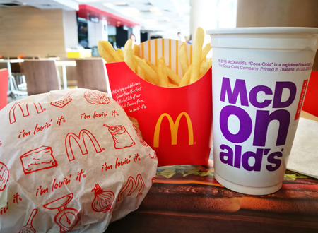 BANGKOK, THAILAND November 28, 2017: McDonalds snack set. McDonalds Corporation Is The Worlds Largest Chain Of Fast Food Restaurants, Serving Around 68 million Customers Daily In 119 Countries Editorial