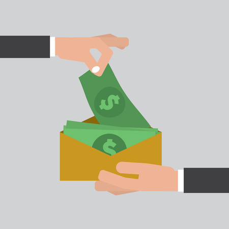 Hand giving money to other hand. Corruption concept, vector illustration. Illustration