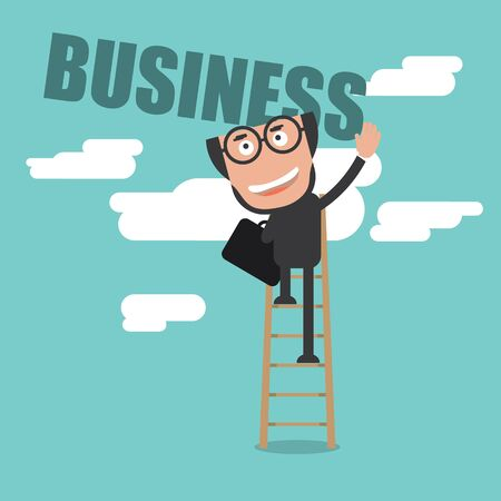 Happy Businessman Climb Up Ladder of Business Successful Concept Vector Illustration Illustration