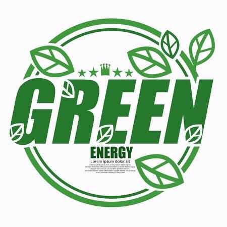 Green Environment Label Logo Concept Vector Illustration