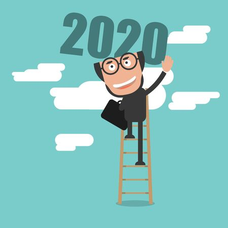 Happy Businessman Climb Up Ladder of Business Successful 2020 Year Concept Vector Illustration