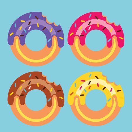 Four Donuts Vector Illustration