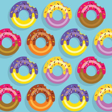 Pattern Colourful Donuts Vector Illustration