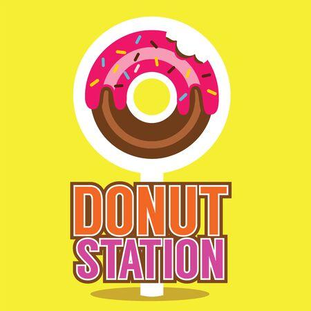Single Donut Station Vector Illustration
