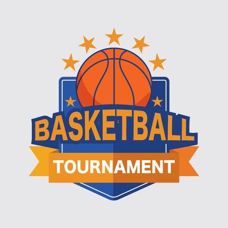 Basketball Tournament Logo White Ball Sport American Game Vector Illustration