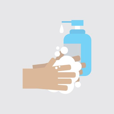 Washing Hand With Soap To Clean and Prevent Germs Vector Illustration