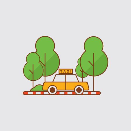 Taxis Are Parked on The Side of The Park Vector Illustration