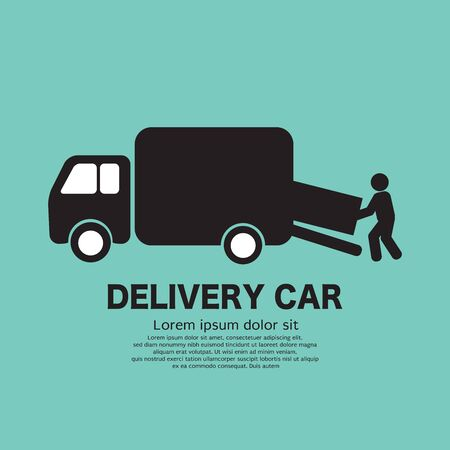 Delivery Person is Carrying the Goods Out of the Delivery Truck Black Icon Symbol Vector Illustration.