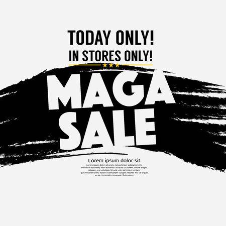 Maga Sale Banner Four Squares Vector Illustration.