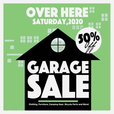 50 Percent Discount Garage Sale Square Banner, Drive Sales Concept Vector Illustration.