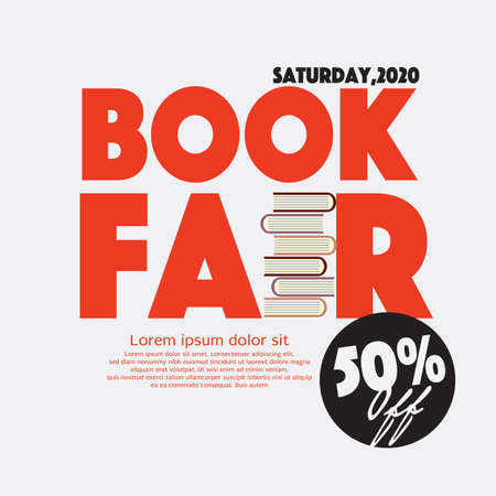 50 Percent Off Book Fair Festival Poster For Advertising Concept Vector Illustration.