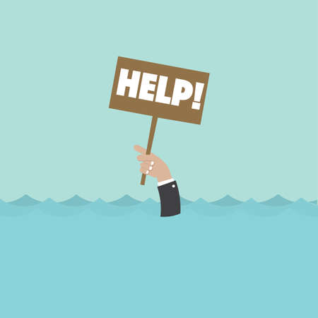 Hand of a Man Holding a Help Sign Asking For Help While Drowning Concept Vector Illustration.