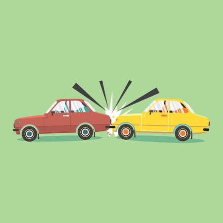 Flat Design Car Accident 0n the road Vector Illustration. Archivio Fotografico - 153186946