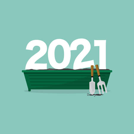 2021 Font on The Plant Pot, Which Shows The Beginning of New Things in The Year 2021 Concept Vector Illustration. Vector Illustration