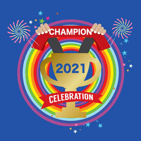 2021 Year Celebration  on Blue Background Vector Illustration