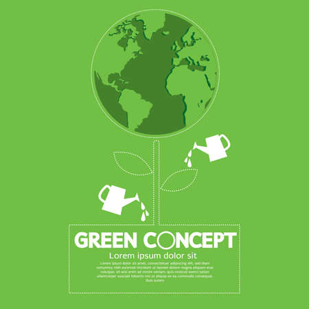Planting Trees Helps to Brighten The World. And Avoid Pollution Green Concept Vector Illustration