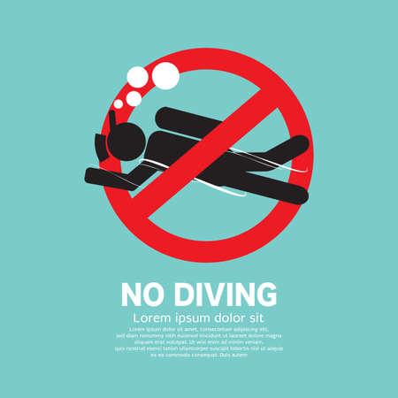 No Diving Icon Symbol Vector Illustration Stock Illustratie