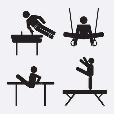 Gymnastics Icon Black Symbol Set Vector Illustration