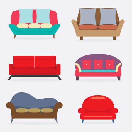Flat Design Vintage Colorful Sofa Set Vector Illustration.