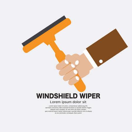 Flat Design Hand Holding Windshield Wiper For Car Vector Illustration. 일러스트