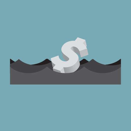 US Dollar Floats On the Sea Floating Money Business Concept Vector Illustration.