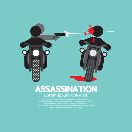 Assassination Shooting From The Motorcycle Vector Illustration.