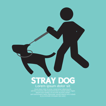 Black Symbol Stray Dog Vector Illustration.
