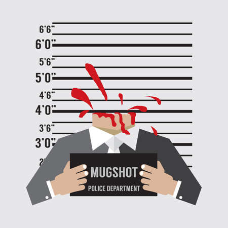 Man Prisoners Were Executed With Beheading Mugshot Vector Illustration.