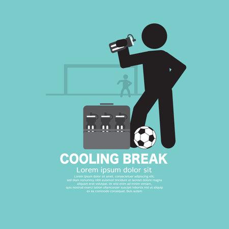 Cooling Break Football Black icon Symbol Vector Illustration.