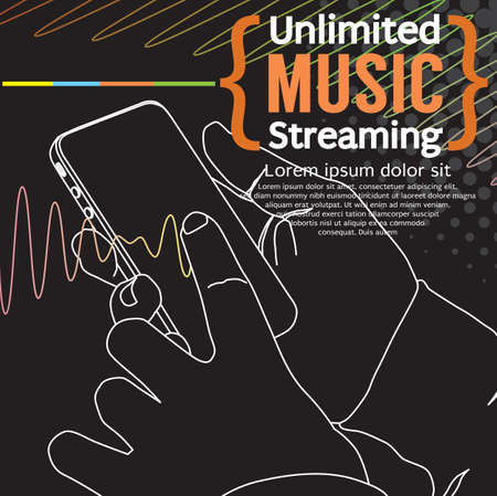 Streaming Music Banner Vector Illustration.