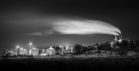 Factory and silos in black and white