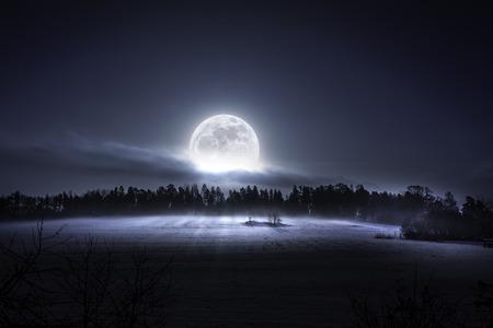 스웨덴의 북쪽에 추위와 안개 낀 아침에 숲과 초원 위로 상승하는 달 스톡 콘텐츠